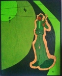 Green Trumpet. 3'x4' acrylic on plywood.