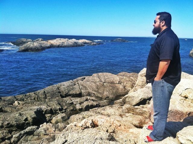 beard on rocks